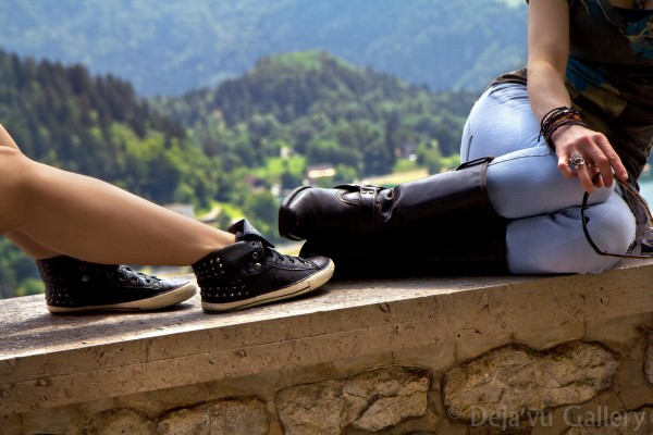Jess & I sitting atop a castle wall in the Lake Bled Castle, Slovenia, June 2013. © Deja'vu Gallery
