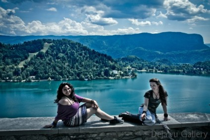 We bravely sat on the edge of this castle wall.... Lake Bled Castle, Slovenia, June 2013. Photo © Deja'vu Gallery