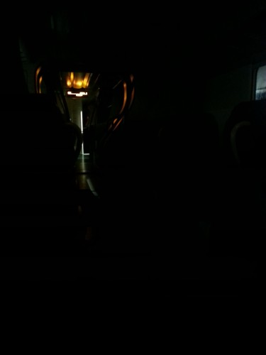 This is how dark my train car was..with the exception of a creepy glow coming from the area where the next car was connected.