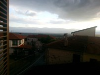 The view from the bathroom on the top floor of the house where I am staying.