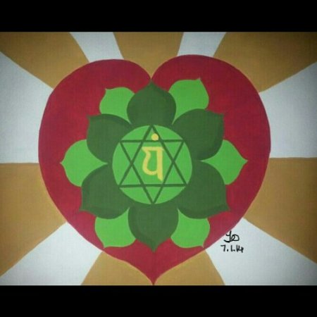 A painting of the heart chakra by Trina Otero