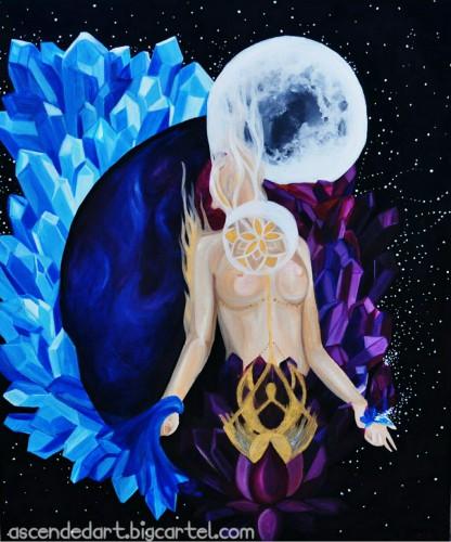 full moon art, c. wolf, goddess