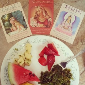 Goddess oracle cards, fresh foods
